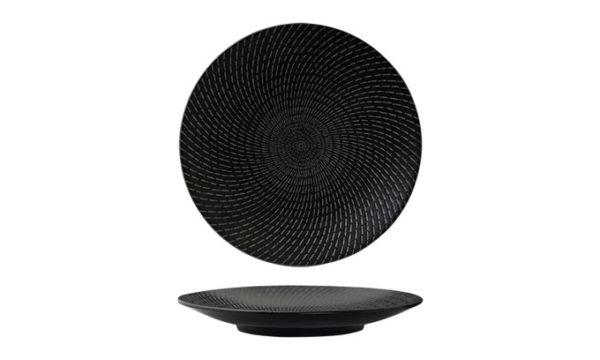 Round-Coupe-Plate-31cm-Black-Swirl
