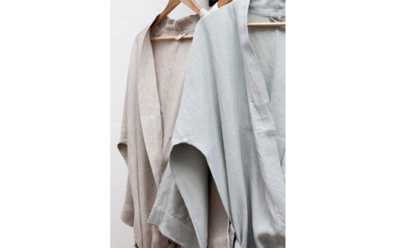 Dressing Gown True Linen Kimono Moon Grey Medium