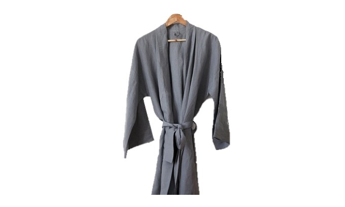 Dressing Gown Linen Fumo Grey