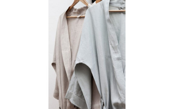 Dressing Gown True Linen Kimono Moon Grey Medium