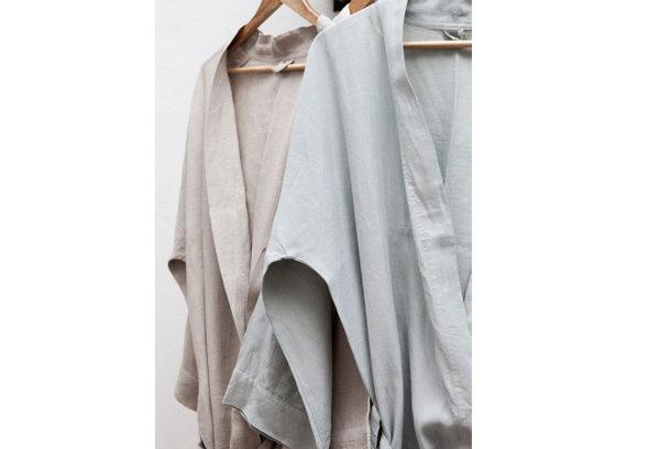 Dressing Gown True Linen Kimono Moon Grey Medium – Livingstones ...