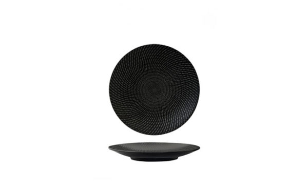 Round Coupe Plate 19cm Black Swirl