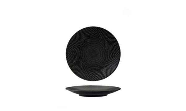 Round Coupe Plate 19cm Black Swirl