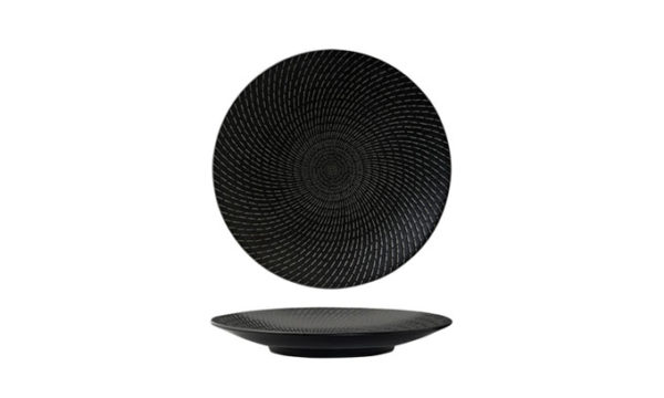 Round Coupe Plate 27.5cm Black Swirl