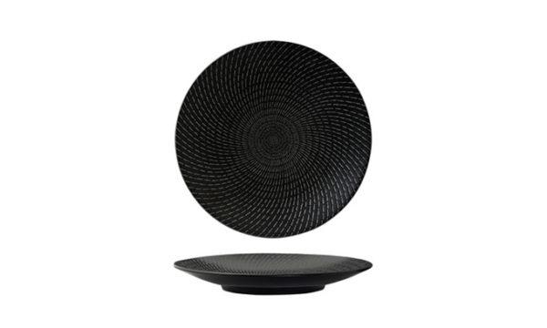 Round Coupe Plate 27.5cm Black Swirl