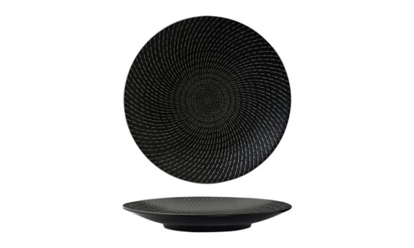 Round Coupe Plate 31cm Black Swirl