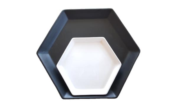 Medium Hexagon plate - White